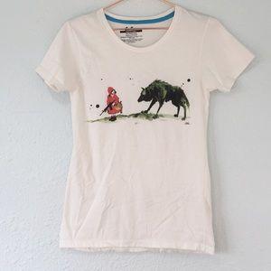 Lora Zombie red riding hood art print tee shirt